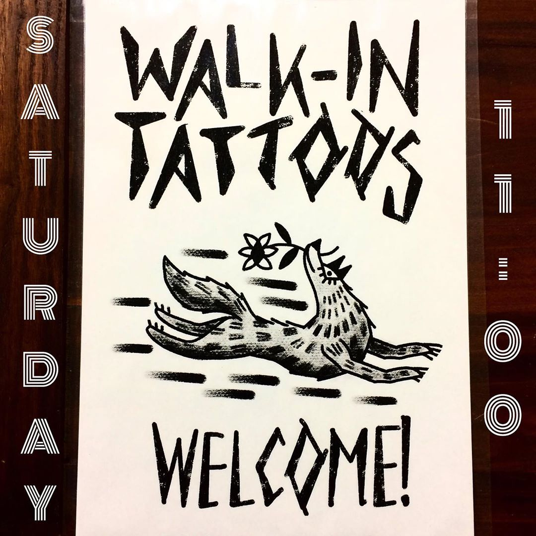 Tomorrow saturday all three of us taking walk-ins @matte_saari @sonjakaski @hannatattooer. We have lots of drawings ready to go, just come by and pick one! Or bring your own idea and we'll draw it up. Please come before 16:00, doors open 11:00. Welcome!